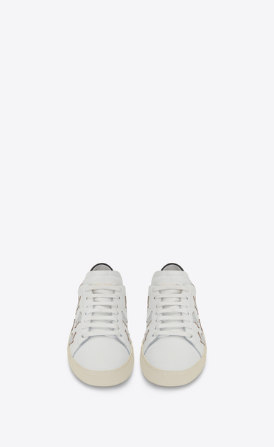 SAINT LAURENT SL/06 Woman signature california sneaker in white leather and silver metallic leather b_V4