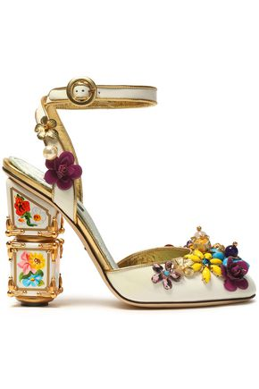 DOLCE & GABBANA Embellished metallic-trimmed patent-leather pumps