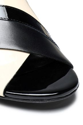 LANVIN Two-tone patent and smooth leather mules