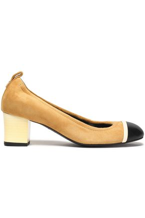 LANVIN Leather-paneled suede pumps
