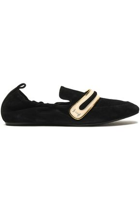 LANVIN Metallic patent leather-trimmed suede slippers