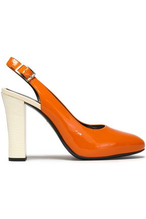 LANVIN Patent-leather slingback pumps