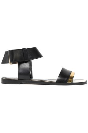 LANVIN Metallic patent leather-trimmed leather sandals