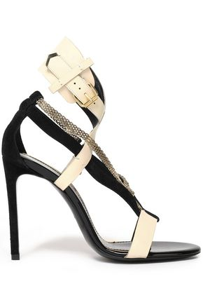 LANVIN Chain-embellished suede and leather sandals