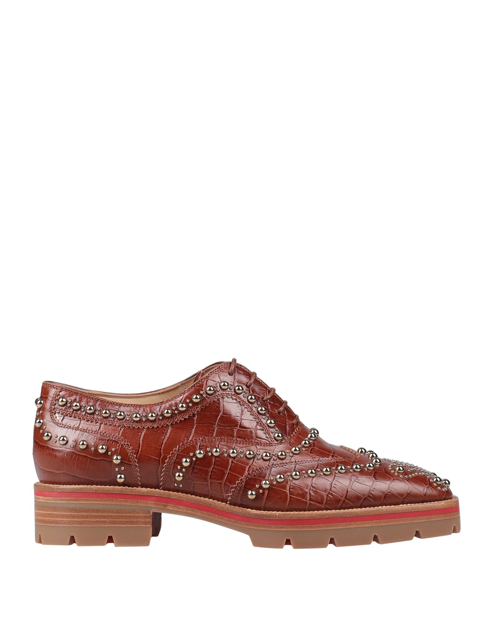 CHRISTIAN LOUBOUTIN Lace-up shoes. leather, crocodile print, studs, solid color, round toeline, square heel, leather lining, rubber cleated sole, contains non-textile parts of animal origin, small sized. Soft Leather