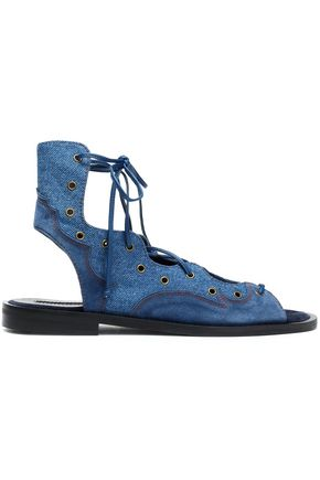 McQ Alexander McQueen Lace-up suede-paneled denim sandals