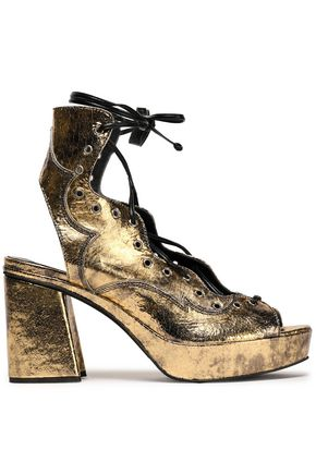 McQ Alexander McQueen Metallic lace-up cracked-leather sandals