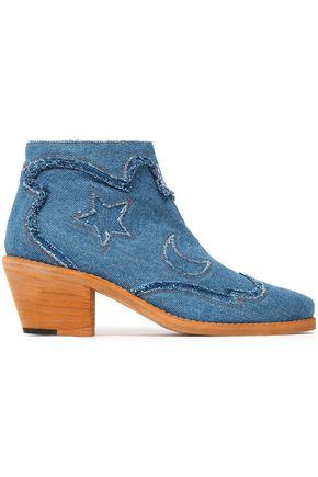 McQ Alexander McQueen Frayed denim ankle boots