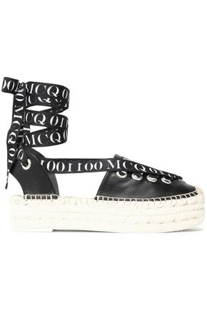 McQ Alexander McQueen Lace-up printed grosgrain-trimmed leather espadrilles