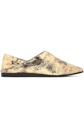 McQ Alexander McQueen Metallic cracked-leather point-toe flats