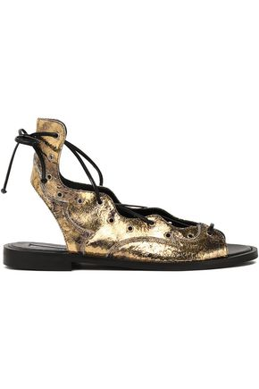 McQ Alexander McQueen Metallic lace-up snake-effect leather sandals