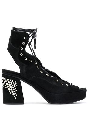 McQ Alexander McQueen Lace-up studded suede platform sandals