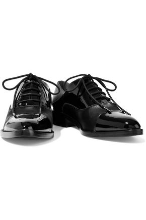 WOMAN ELINOR PATENT LEATHER AND SATIN BROGUES BLACK