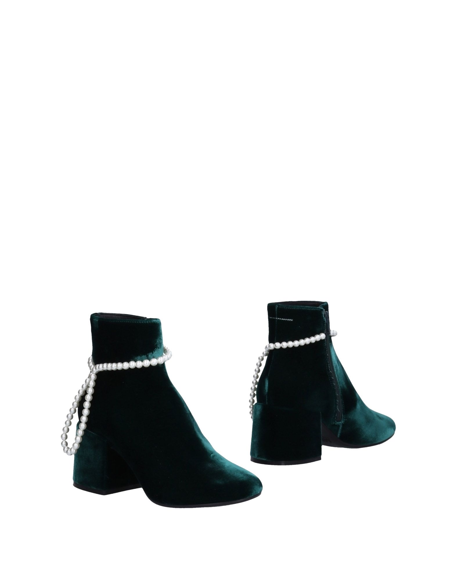 Woman Faux Pearl-Embellished Velvet Ankle Boots Emerald