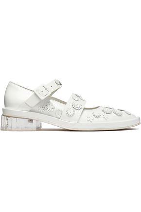 SIMONE ROCHA Floral-appliquéd leather point-toe flats