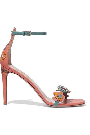 VALENTINO Floral-appliquéd leather sandals
