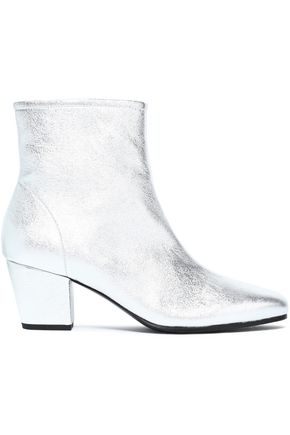 ALEXA CHUNG Metallic textured-leather ankle boots