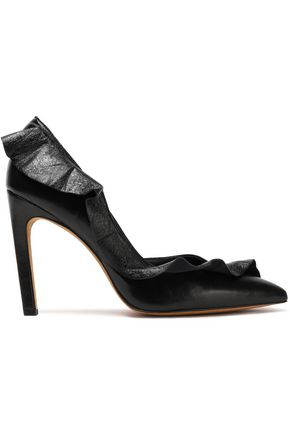 IRO Ruffle-trimmed leather pumps