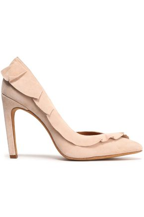 IRO Escavol ruffle-trimmed suede pumps