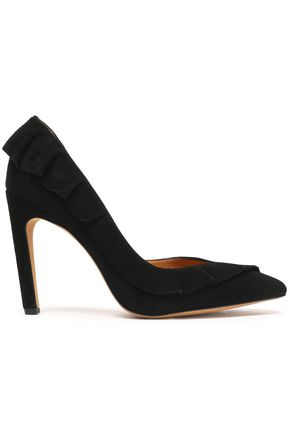 IRO Ruffle-trimmed suede pumps