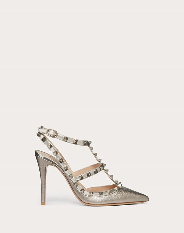 Rockstud Metallic Ankle Strap Pump 100 mm
