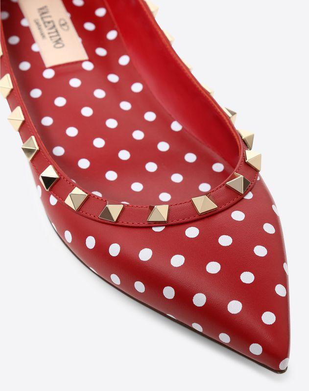 Polka-Dot Rockstud Ballet Flat
