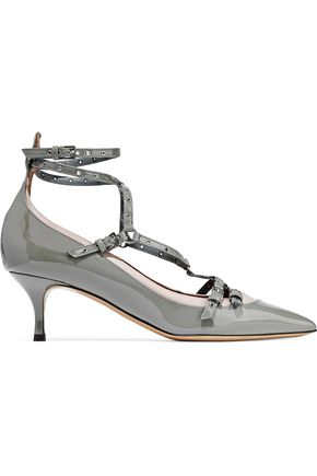 VALENTINO GARAVANI Love Latch eyelet-embellished smooth and patent-leather pumps