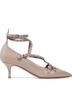 VALENTINO Two-tone embellished patent and smooth-leather pumps