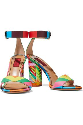 VALENTINO GARAVANI Embellished color-block matte and patent-leather sandals