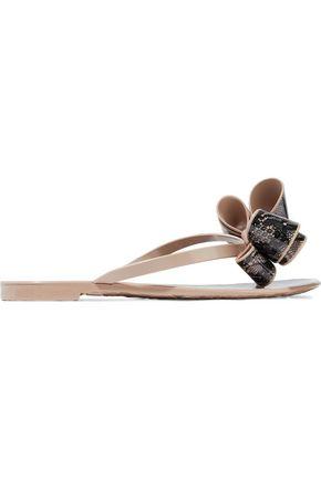 VALENTINO GARAVANI Bow-embellished printed rubber flip flops