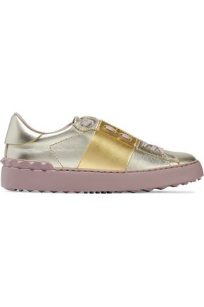 VALENTINO GARAVANI Studded two-tone metallic leather sneakers