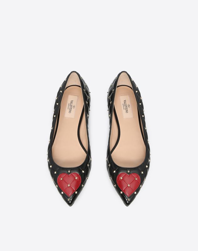 Rockstud Spike ballet flat with heart embroidery