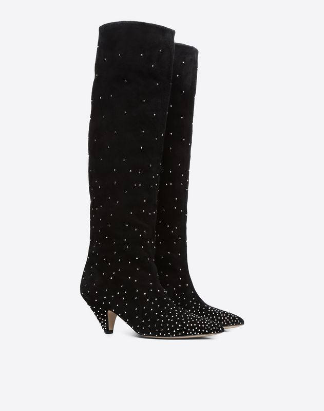 Suede Microstud Knee High Boot 60mm