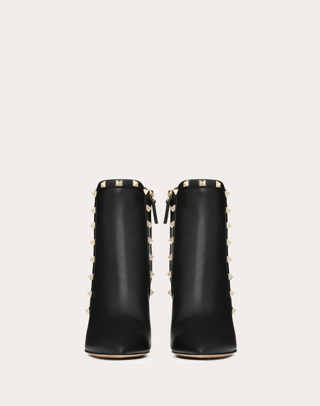 Rockstud Calfskin Leather Ankle Boot 85 mm