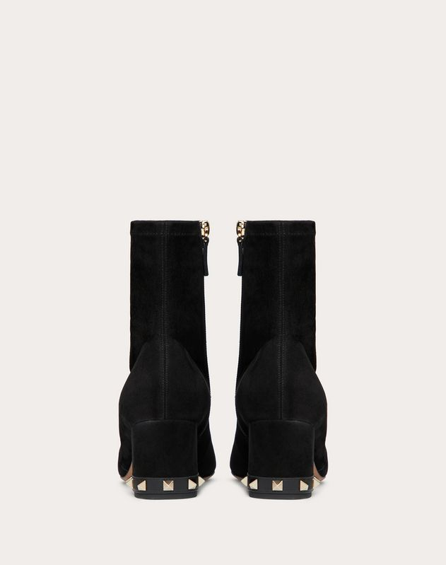 Rockstud Suede Leather Ankle Boot 60 mm