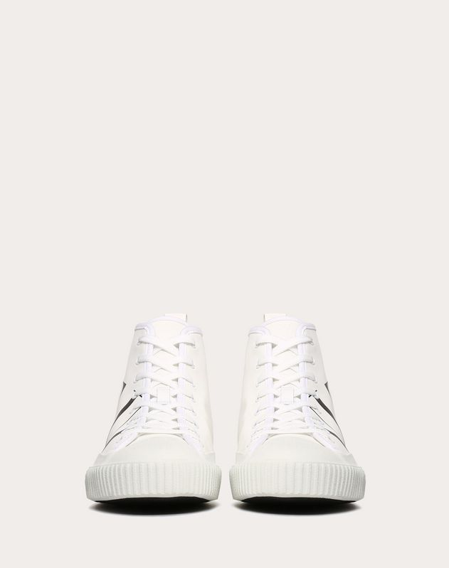 HIGH-TOP CANVAS SNEAKER WITH VLTN LOGO