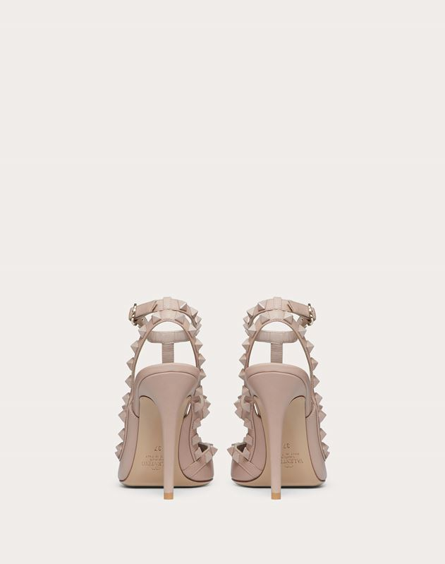 Rockstud Ankle Strap Pump with Tonal Studs 100 mm