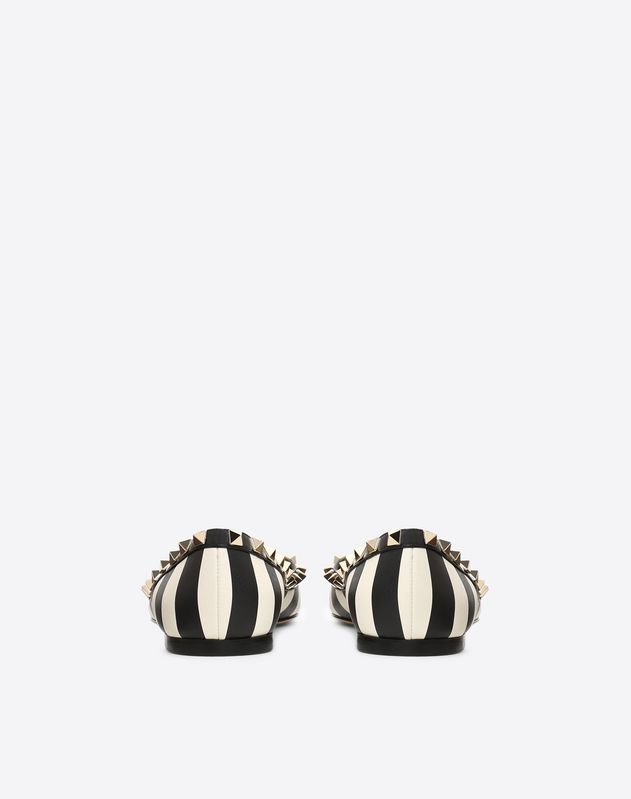 Striped Rockstud Ballerinas