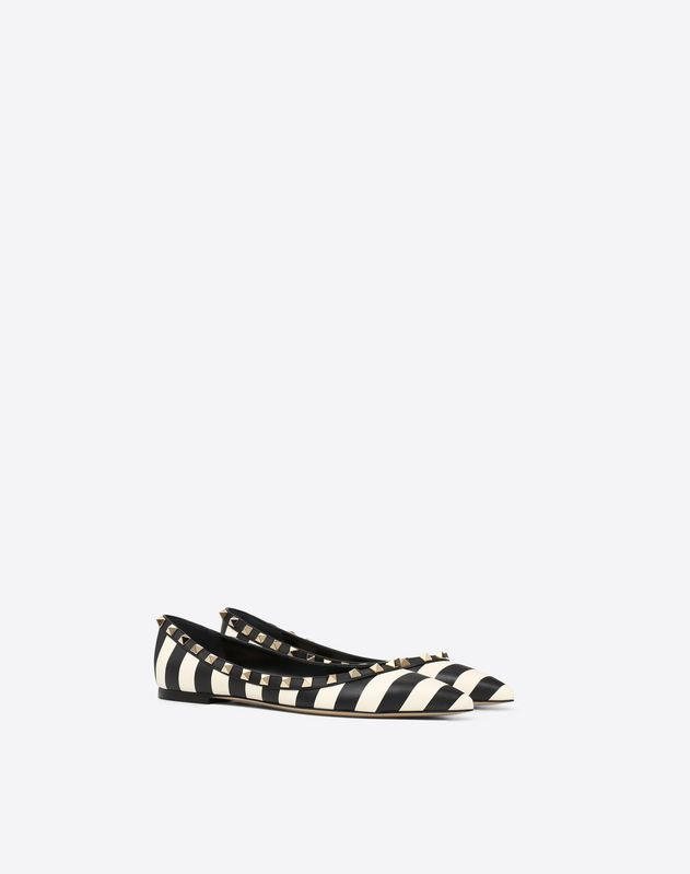 Striped Rockstud Ballet Flat
