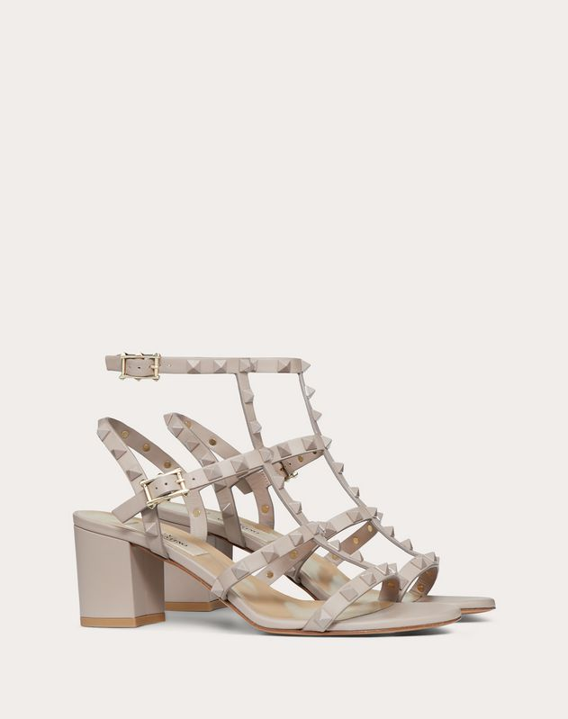 Rockstud Ankle Strap Sandal with Tonal Studs 60 mm