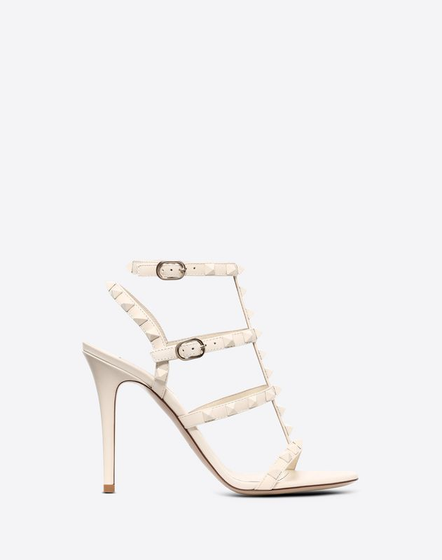 Lacquer studs Rockstud caged Sandal 100mm