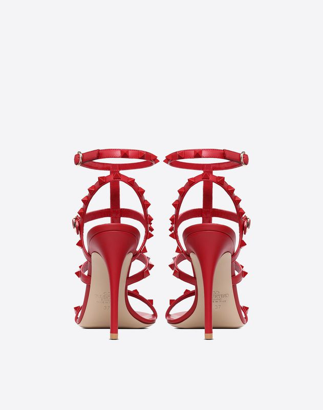 Lacquer Cage Rockstud Sandal 100mm