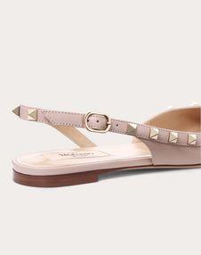 Rockstud Calfskin Leather Slingback Ballet Flat