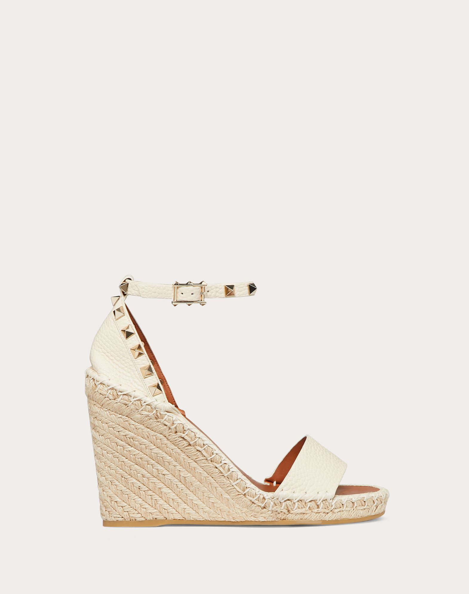 Grain Calfskin Leather Rockstud Double Wedge Sandal 95mm