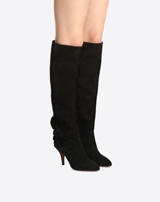 Suede Side-Bow Knee High Boot 80mm