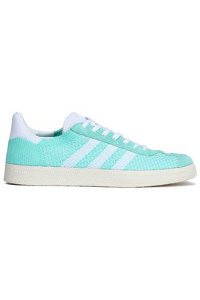 ADIDAS ORIGINALS Suede-trimmed stretch-knit sneakers