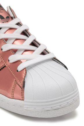 ADIDAS ORIGINALS Perforated metallic patent-leather sneakers