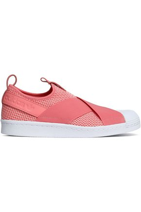 ADIDAS ORIGINALS Leather-trimmed stretch-knit and mesh slip-on sneakers