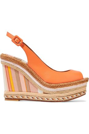 VALENTINO GARAVANI Leather platform espadrille wedge sandals