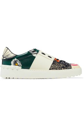 VALENTINO GARAVANI Studded printed leather sneakers